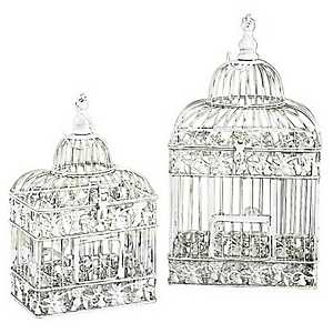 Cream Rectangular Bird Cage Planters, Set of 2