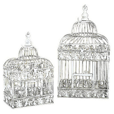 Cream Rectangular Bird Cage Planters, Set of 2