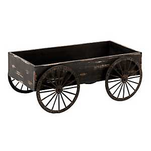Distressed Black Cart Planter
