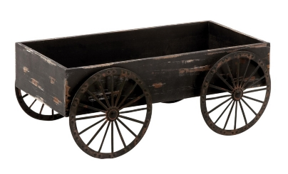 Distressed Black Cart Planter