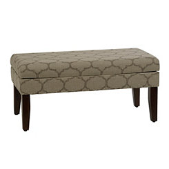 Tan Quatrefoil Storage Bench