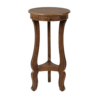 Wood Curved Pedestal Side Table