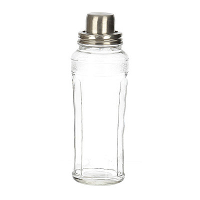 Silver Top Glass Cocktail Shaker