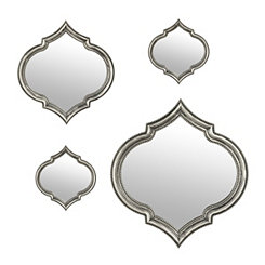 Silver Marquis Quatrefoil Mirrors, Set of 4