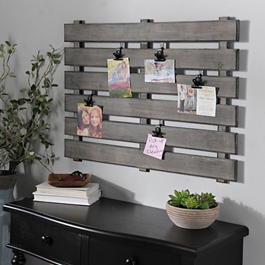 gray wood pallet clip collage frame natural hanging window
