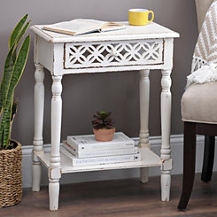 White Clover Mirror Side Table