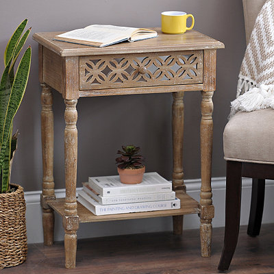Wood Clover Mirror Side Table
