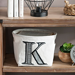 Black Monogram Canvas Storage Bins