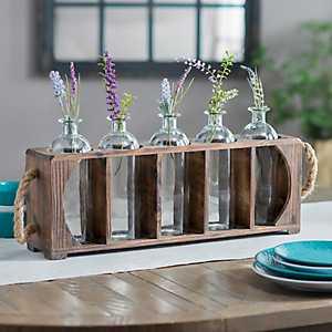Standing Glass Bottle Vase Runner Set