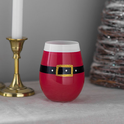 Santa Claus Suit Stemless Wine Glass