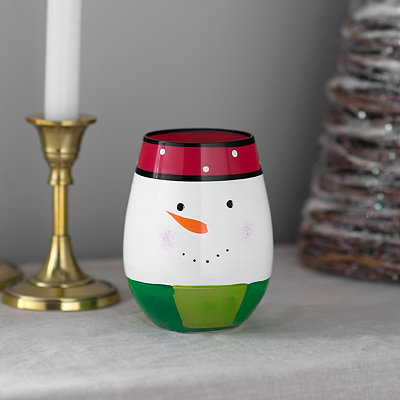 Smiling Snowman Stemless Wine Glass