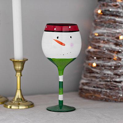 Smiling Snowman Wine Glass