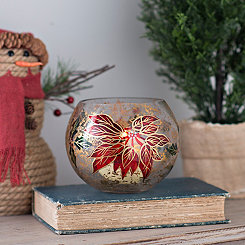 Poinsettia Glass Rose Bowl Candle Holder