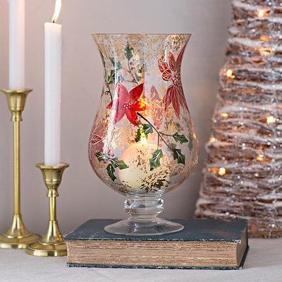 Poinsettia Glass Hurricane