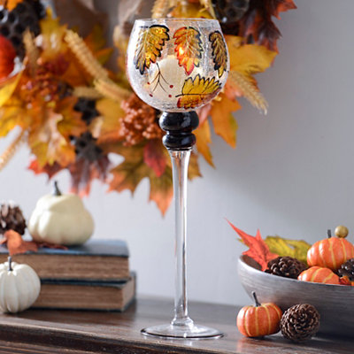 Autumn Leaf Crackle Glass Charisma, 16 in.