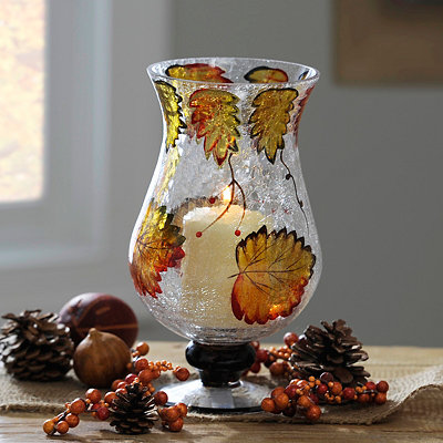 Autumn Leaf Crackle Glass Hurricane