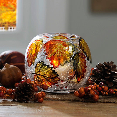 Autumn Leaf Crackle Glass Candle Holder