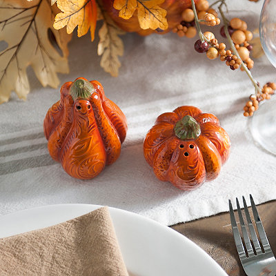 Patterned Pumpkin Salt and Pepper Shaker Set