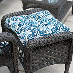 Woodblock Prism Blue Outdoor Ottoman Cushion