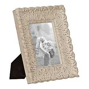 Cream Distressed Ornate Floral Picture Frame, 5x7