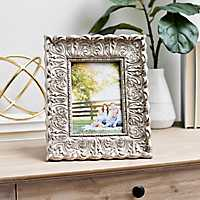 Silver Distressed Ornate Floral Picture Frame, 5x7