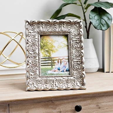 silver distressed ornate floral picture frame 5x7 - Distressed Picture Frames