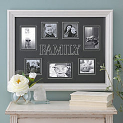 White Family Engraved Picture Collage Frame