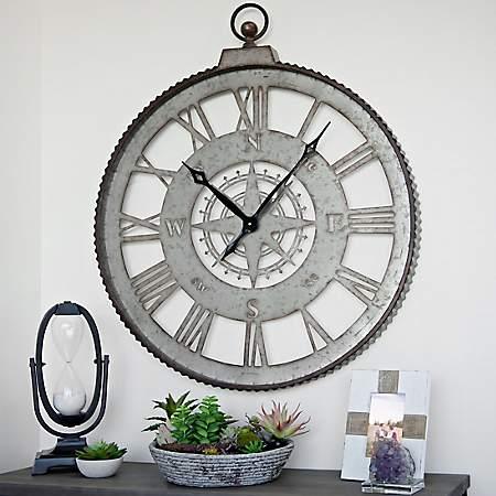 Galvanized Cutout Compass Wall Clock Kirklands
