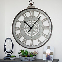 Galvanized Cutout Compass Wall Clock