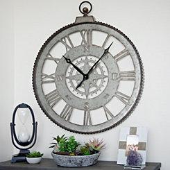 Galvanized Cutout Compass Wall Clock