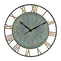 Turquoise Embossed Metal Wall Clock