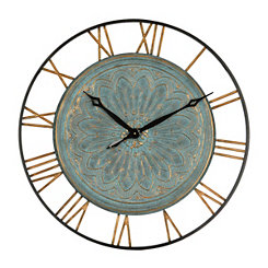 Turquoise Embossed Metal Wall Clock