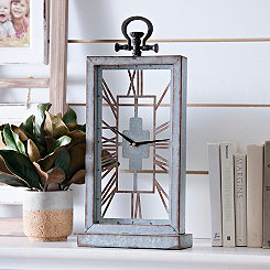 Galvanized Metal Cutout Table Clock