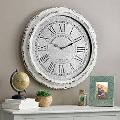 Distressed Cream Galvanized Wall Clock