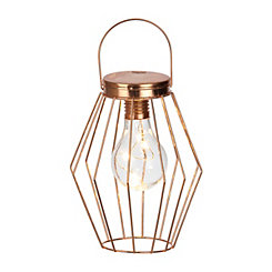 Pre-Lit Geometric Wireframe Diamond Lantern