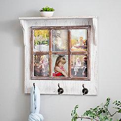 Cream Windowpane Collage Frame Shelf with Hooks
