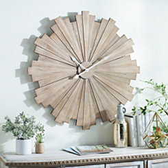 Wood Slat Starburst Wall Clock