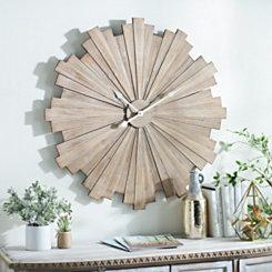 Wood Slat Starburst Wall Clock