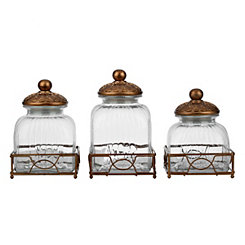 Gretta Gold Canisters and Trays, Set of 6