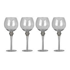 Cellini Silver Diamond Goblets, Set of 4
