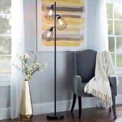Black Caged Filament Floor Lamp