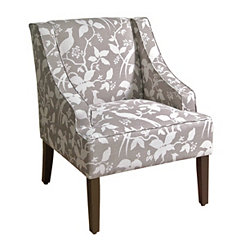 Gray Floral Swoop Accent Chair