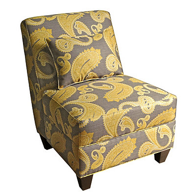 Gray and Yellow Paisley Slipper Chair