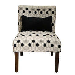 Black and White Geometric Accent Chair