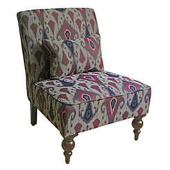 Gray Ikat Accent Chair