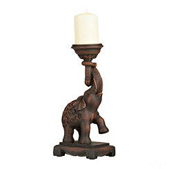 Brown Elephant Trunk Candle Holder, 13 in.