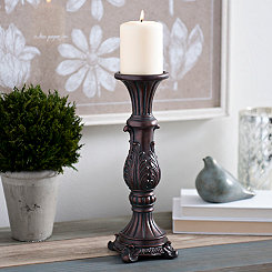 Brown Vintage Leaf Candlestick, 12 in.