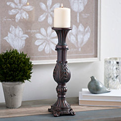 Brown Vintage Leaf Candlestick, 15 in.