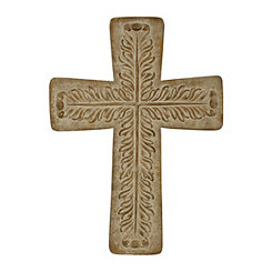 Brown Washed Metal Embossed Cross