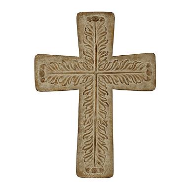 brown washed metal embossed cross - Decorative Cross
